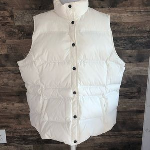 3X Lands' End Cream Down Feathers Puffer Vest